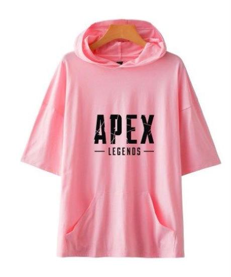 【購入時要サイズ記載】APEX LEGENDS シンプル ロゴプリント 半袖 フード付 Tシャツ ストリート風 ポケット付 トップス 5カラー