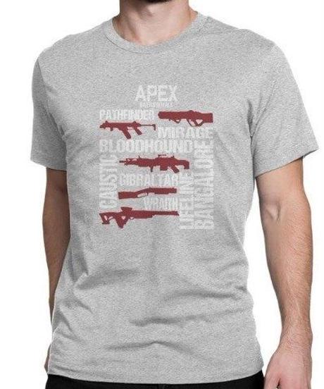 APEX LEGENDS スタイリッシュ レタープリント メンズ 半袖Tシャツ ガンシルエット 高品質 大人用 100%コットン サマートップス S~6XL グレー