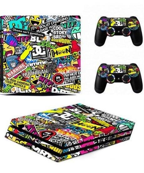Playstation4プロ専用 総柄 グラフィティーデザイン ストリートテイスト スキンシール PS4pro ビニール カスタマイズ ステッカー