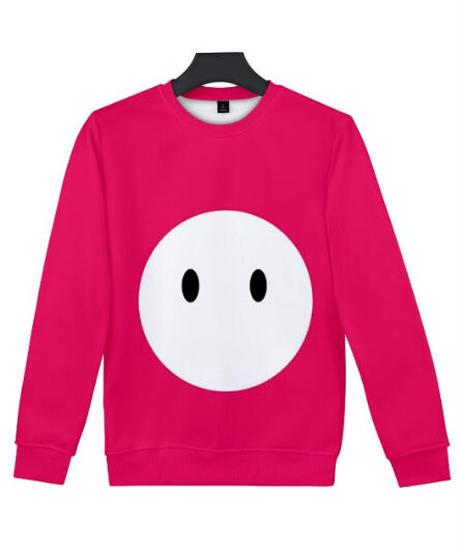 Fall Guys フォールガイズ ロゴ キャラクター フルプリント 長袖 クルーネック スウェットシャツ ユニセックス ルームウェア XXS~4XL ピンク