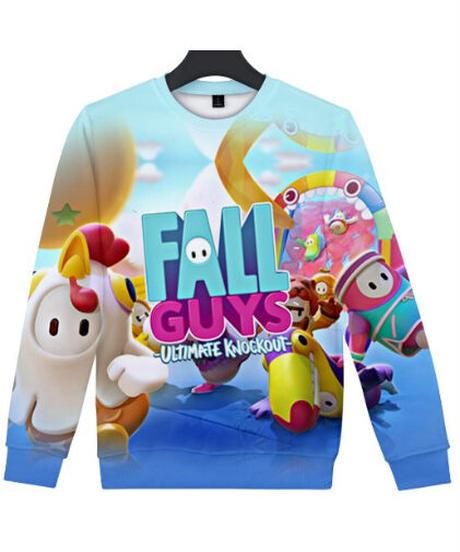 Fall Guys フォールガイズ ロゴ キャラクター フルプリント 長袖 クルーネック スウェットシャツ ユニセックス ルームウェア XXS~4XL 06246