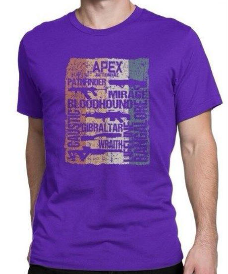 APEX LEGENDS レトロ ヴィンテージ風 イラスト フロントプリント メンズ 半袖Tシャツ ガンシルエット 夏服 トップス 高品質 大人用 100%コットン  S~6XL  パープル