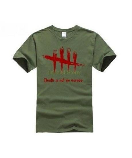 Dead by Daylight 5ライン ホラーテイスト イラストプリント 半袖 メンズ カジュアル Tシャツ S~XXXL アーミーグリーン