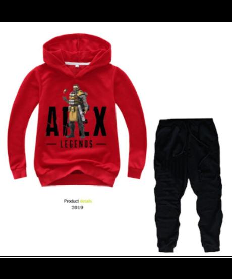 【備考欄要サイズ記載】APEX LEGENDS ロゴ フロントプリント キッズ パーカー&パンツ 上下セット 子供服 選べる6カラー カジュアル セットウェア