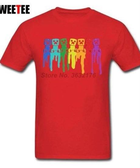 Minecraft フロント クリーパーデザイン 半袖 Tシャツ コミカルイラスト XS~XXXL 11カラー