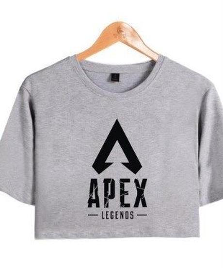 APEX LEGENDS シンプル ロゴデザイン フロントプリント ショート丈 半袖 レディース トップス 半袖 夏 ミニ丈Tシャツ XS~XXL グレー