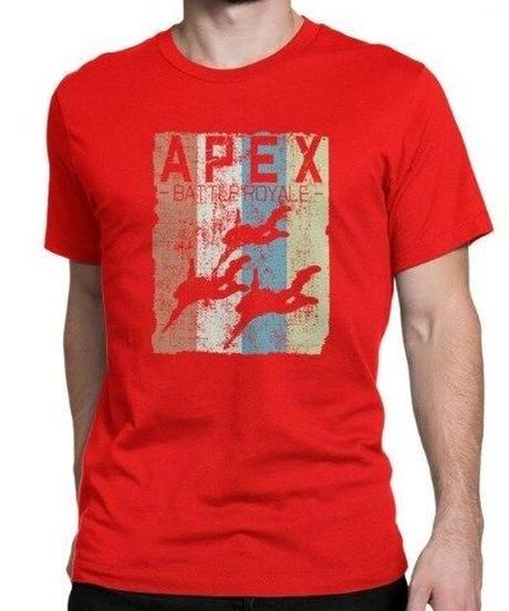 APEX LEGENDS レトロ イラストデザイン メンズ 半袖Tシャツ プリント サマー トップス 高品質 大人用 100%コットン  S~6XL レッド