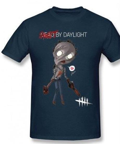 Dead by Daylight デフォルメ キャラクタープリント 半袖 Tシャツ キラー ヒルビリーデザイン Oネック コットン S~6XL ネイビーブルー