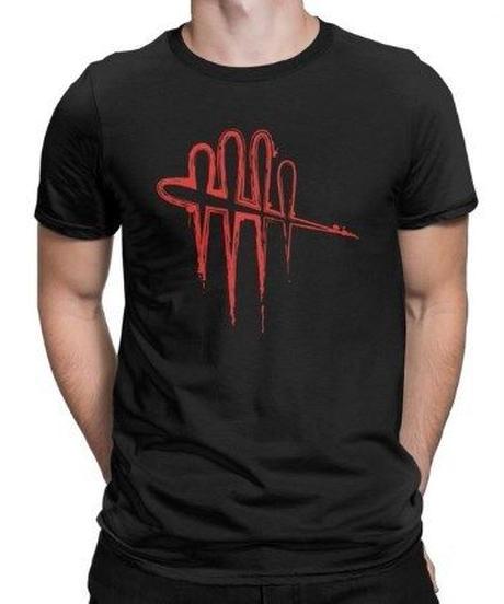 Dead by Daylight 縁取り 5ライン ロゴデザイン フロントプリント ホラー シンプル 半袖Tシャツ メンズ 夏服 S~6XL 選べる9カラー