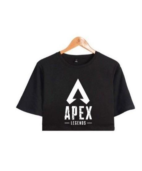 APEX LEGENDS シンプル ロゴデザイン フロントプリント ショート丈 半袖 レディース トップス 半袖 夏 ミニ丈Tシャツ XS~XXL ブラック