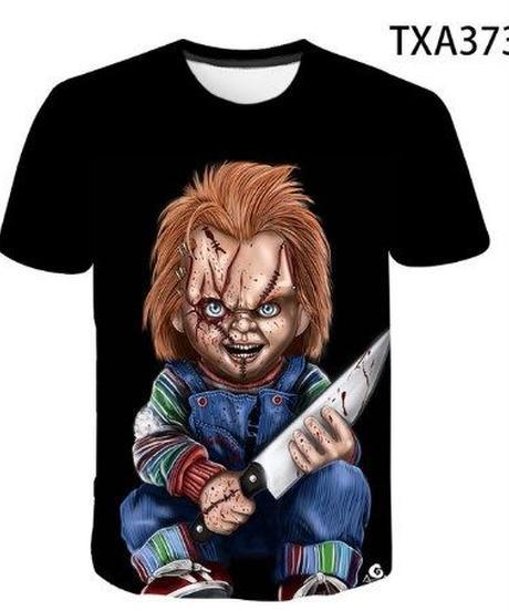 ホラー映画 キャラクター メンズ Tシャツ チャイルドプレイ チャッキー ホラーテイスト 半袖 トップス ブラック  XXS~4XL