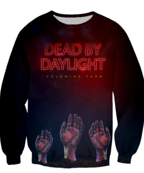 Dead by Daylight ハンドプリント ホラーテイスト フロントデザイン ロゴ プルオーバー 長袖 メンズ スウェットシャツ ブラック S~5XL