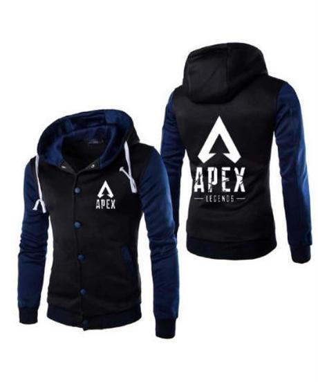 【備考欄要サイズ記載】APEX LEGENDS ロゴ 両サイドプリント スタイリッシュ フロントボタン フード付 パーカー M~5XL 7カラー