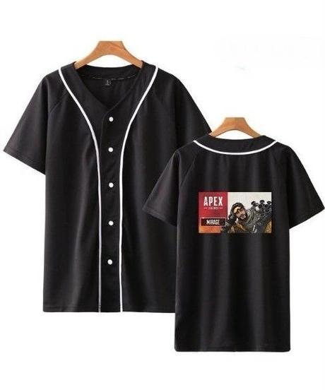 APEX LEGENDS キャラクター&ロゴ バックプリント 半袖 ベースボールTシャツ XXS~4XL ブラック