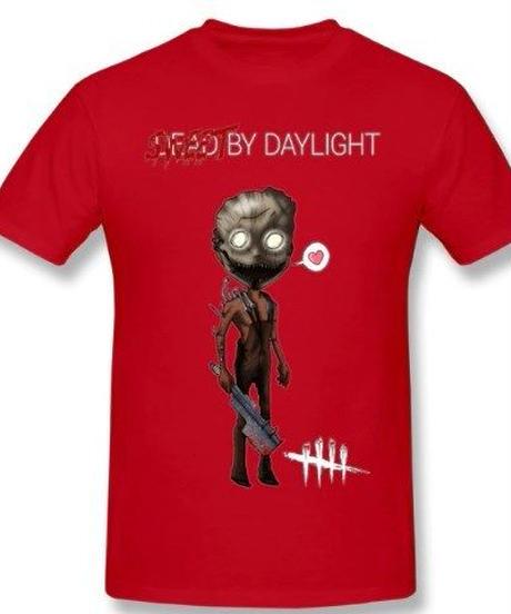 Dead by Daylight デフォルメ キャラクタープリント 半袖 Tシャツ キラー トラッパーデザイン Oネック コットン S~6XL レッド