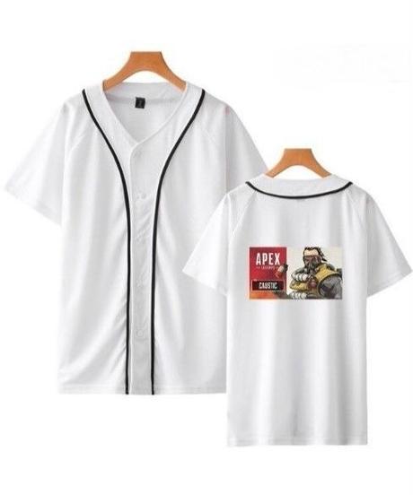 APEX LEGENDS キャラクター&ロゴ バックプリント 半袖 ベースボールTシャツ XXS~4XL ホワイト