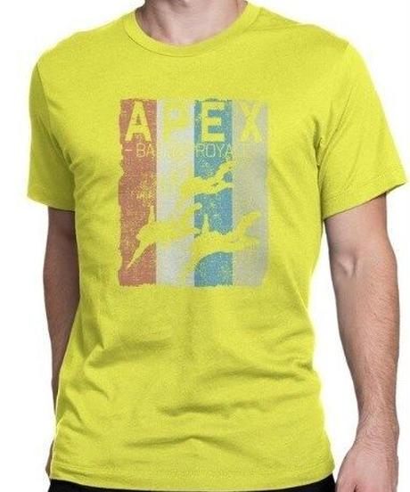APEX LEGENDS レトロ イラストデザイン メンズ 半袖Tシャツ プリント サマー トップス 高品質 大人用 100%コットン  S~6XL イエロー