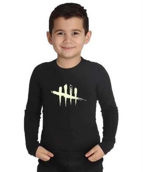 Dead by Daylight ルミナス 5ラインロゴ フロントデザイン キッズ 長袖 Tシャツ 暗闇で光る ユニーク ロンT 子供服 2T~10 ブラック