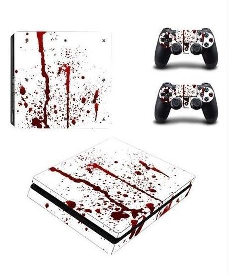 Playstation4スリム専用 ホラーテイスト 血しぶきデザイン スプラッター スキンシール PS4 カスタマイズ ステッカー