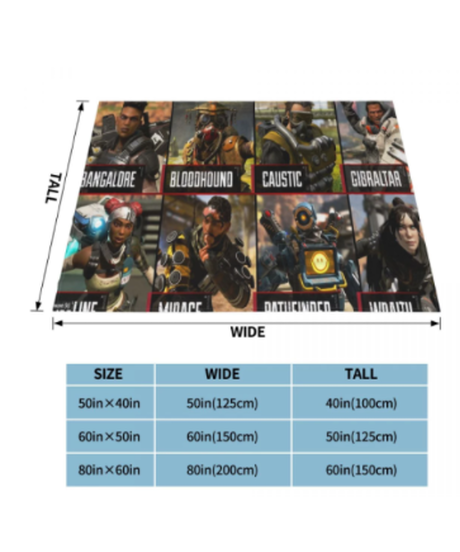 APEX LEGENDS キャラクター フルプリント フランネル 毛布 布団カバー 掛けカバー 選べる3サイズ
