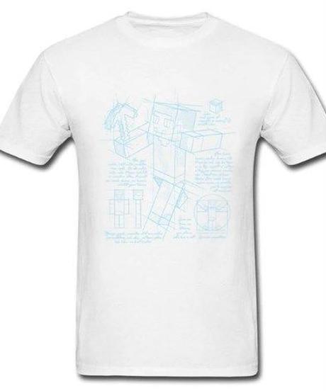 Minecraft フロント スティーブ プリント 半袖Tシャツ 解剖図 ユニークイラスト 男女兼用 7カラー