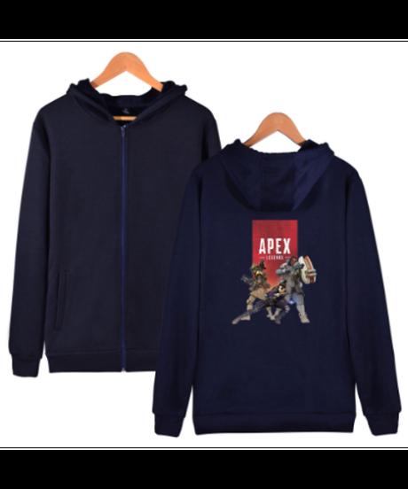 【備考欄要サイズ記載】APEX LEGENDS ロゴ キャラクター フロントプリント フード付 長袖 ジップアップ パーカー 選べる5カラー