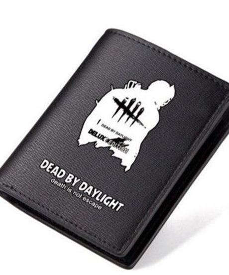 Dead by Daylight トラッパー シルエット&ロゴ 折りたたみ ショートウォレット PUレザー 財布 男女兼用 シンプル ブラック