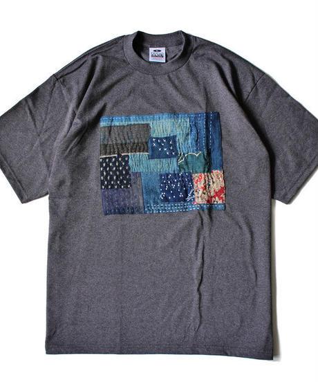 襤褸(古布)のリメイク パッチワーク  Tシャツ 6.5ozヘビーウエイトUSAコットンボディ( XLサイズ ) チャコール
