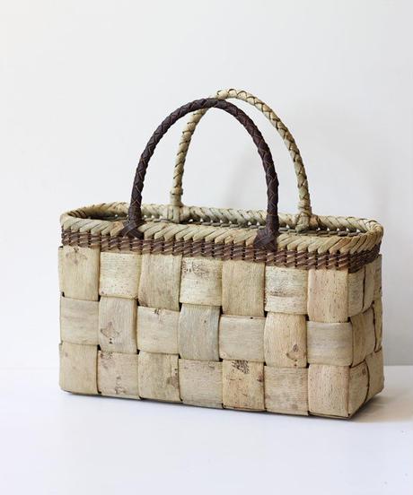 横幅35cm 取っ手バイカラー 沢胡桃のかごバッグ   (クルミ/くるみ/籠)  オズのかごバッグ