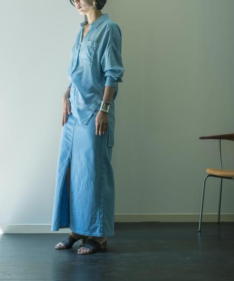 DENIM LONG SKIRT / NUIT BLUE