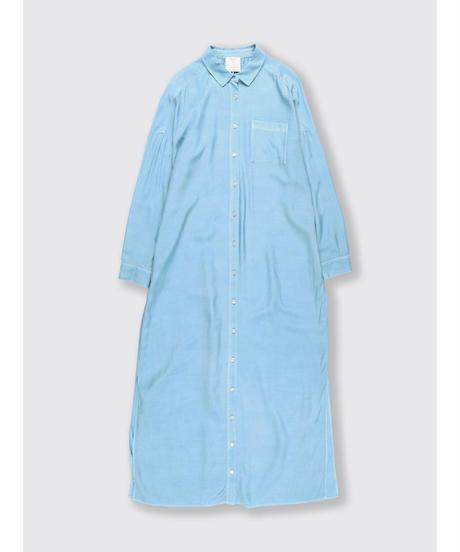 RAYON CUPPULA SILK LONG SHIRT DRESS / MATIN BLUE