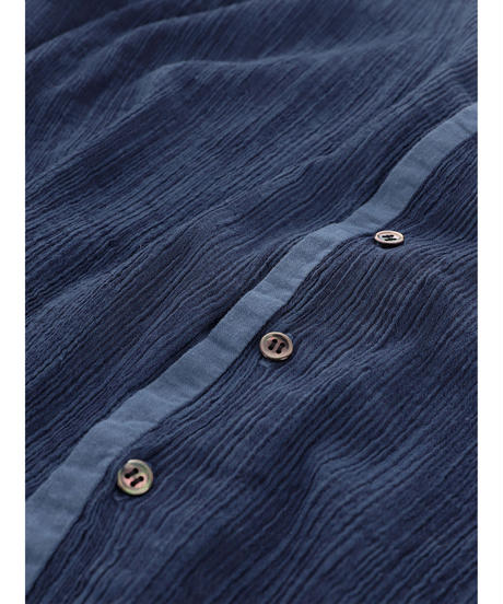 PLEATED HICKORY CARDIGAN / NUIT BLUE