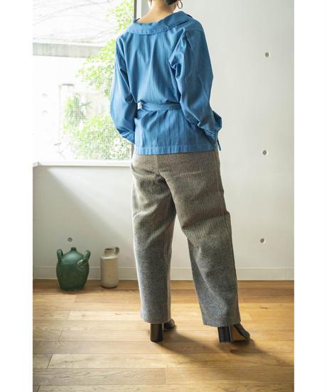 COTTON STRIPE DOBBY SHIRT JACKET / MATIN BLUE