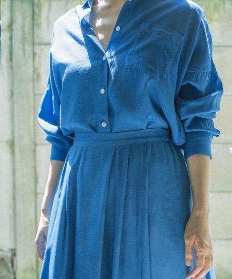 RAYON CUPPULA SILK SHIRT BLOUSE / MATIN BLUE