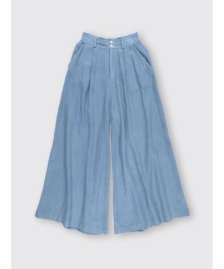 COTTON LINEN GAUZE WIDE PANTS / MATIN BLUE
