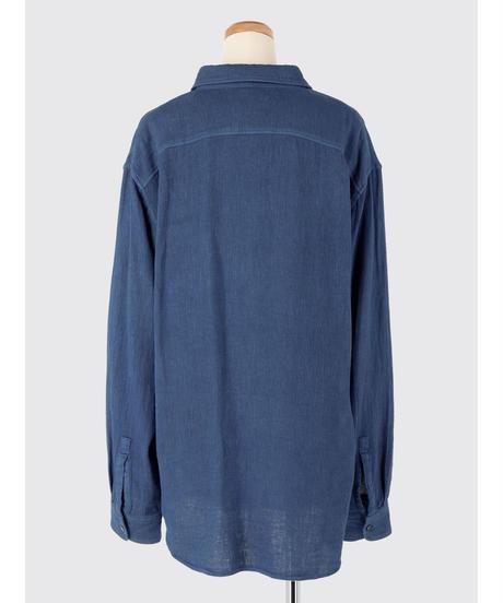 COTTON LINEN GAUZE SHIRT / NUIT BLUE