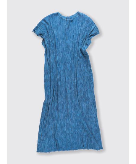 PLEATED HICKORY LONG SACK DRESS / MATIN BLUE