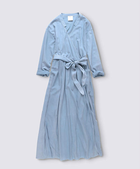 COTTON VENETIAN LONG WRAP DRESS COAT / MATIN BLUE