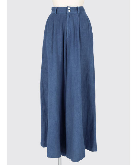 COTTON LINEN GAUZE WIDE PANTS / NUIT BLUE