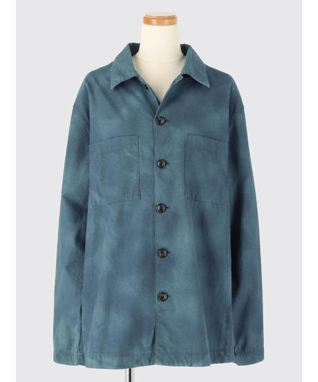 UNEVENLY DYED COTTON NEP SHIRT JACKET / NUIT BLUE