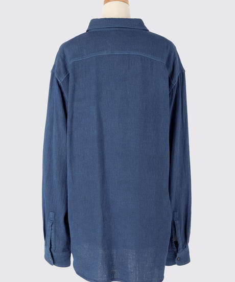 COTTON LINEN GAUZE SHIRT / NUIT BLUE