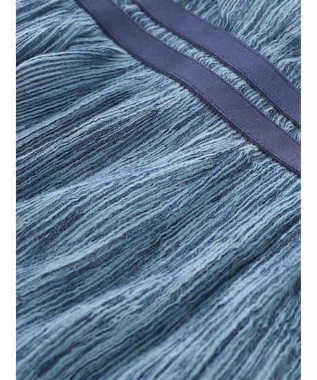 PLEATED HICKORY LONG SKIRT / MATIN BLUE