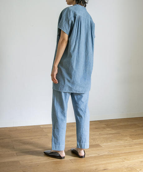 STRIPE RELAX TAPERED PANTS / NUIT BLUE
