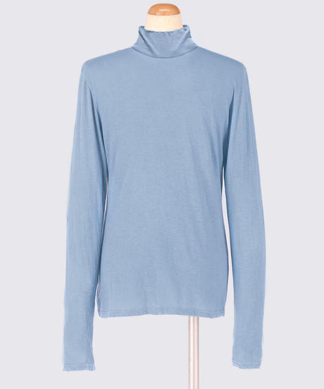 COTTON JERSEY TURTLENECK LONG SLEEVE TOPS / MATIN  BLUE