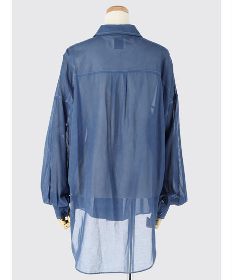 SEE-THROUGH TACK SLEEVE BLOUSE / NUIT BLUE