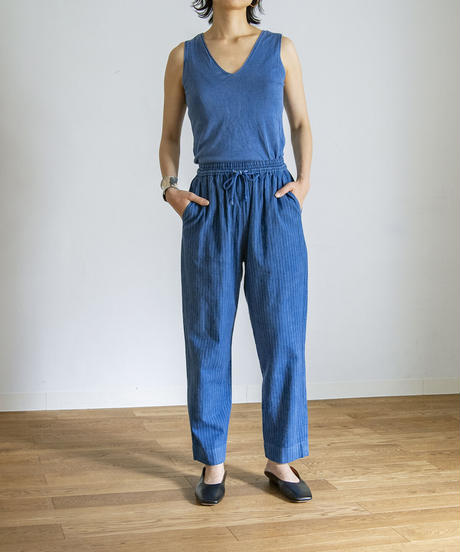 SILK KNIT SLEEVELESS TOPS / MATIN BLUE