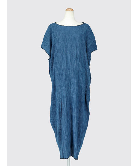 PLEATED HICKORY LONG SACK DRESS / NUIT BLUE