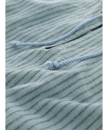 STRIPE LINEN STRING PULLOVER / MATIN BLUE