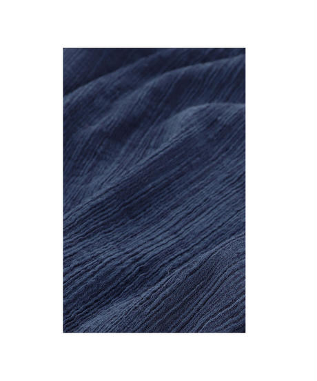 PLEATED HICKORY LONG SKIRT / NUIT BLUE