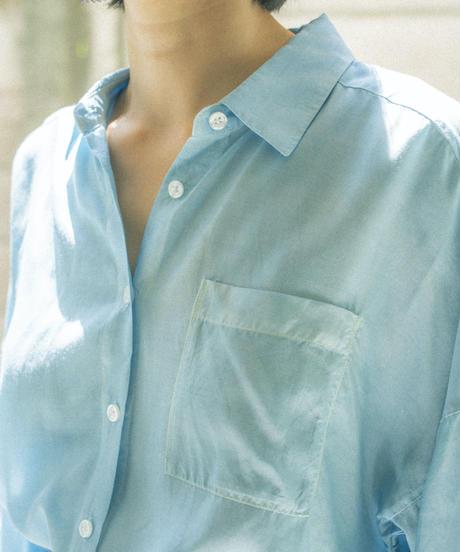 RAYON CUPPULA SILK LONG SHIRT DRESS / NUIT BLUE